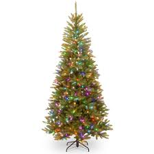 slim christmas tree with led colored lights powerconnect dunhill fir 7 5 foot slim tree with light parade led