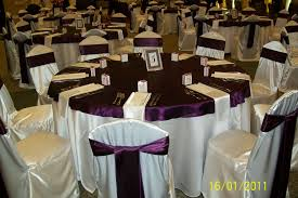 discount table linen rental ivory satin base linen with eggplant plum satin cap matching