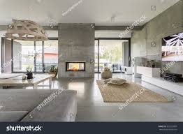spacious villa interior cement wall effect stock photo 552591889
