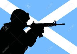 Soldier With Flag Silhouette Of A Scottish Soldier With The Flag Of Scotland In