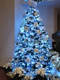 simple decoration 2015 tree white with blue and silver