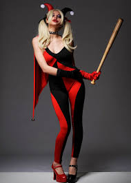 red harley quinn style catsuit costume