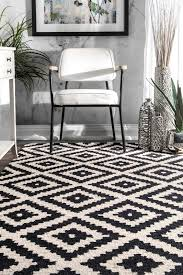 Area Rug Black And White Mercury Row Obadiah Tufted Wool Black Area Rug Reviews