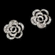 cubic zirconia earrings zirconia floral stud earrings flower bridal bridesmaid earings