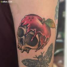 55 most scary skull apple tattoos u2013 horrible apple tattoo designs