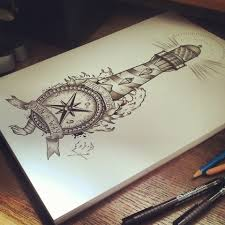 Nautical Map Tattoo Nautical Compass And Lighthouse Tattoo Design Tattoo Pinterest