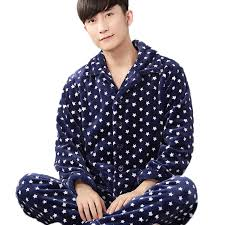 pijama winter mens pajama sets o neck sleeve nightwear