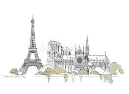 paris notre dame thriumph arch and eiffel tower sketch