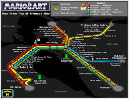 Bart Lines Map by Bay Area Rapid Transit Map U2013 Super Mario Kart Style U2013 Dave U0027s Geeky