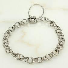 silver chain link charm bracelet images Vintage sterling double link starter charm bracelet a z chain co jpg