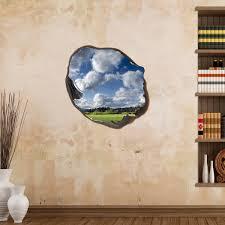 stickers trompe oeil mural sticker muraux trompe l u0027oeil sticker mural nuages dans le trou
