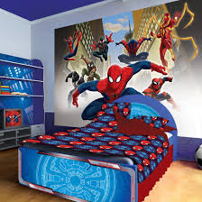 wall appealing kids bedroom with superhero decals combined file info wall appealing kids bedroom with superhero decals combined spider man theme and fancy bed also motive bedding featuring open shelves racks