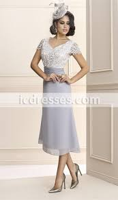 v neck tea length mother of bride dresses with lace jacket beads