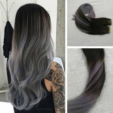silver hair extensions in balayage black to silver hair extensions 1b