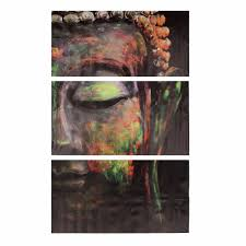 Home Decor Buddha Statue by 40x60cm Buddha Statues Triple Frameless Canvas Prints Oil Painting