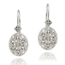 leverback earrings db designs sterling silver diamond accent filigree oval leverback