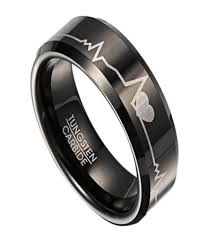 men in black wedding band black tungsten his and rings with hearts and heartbeats design