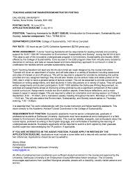 apply now for fall 2014 college of sustainability ta positions