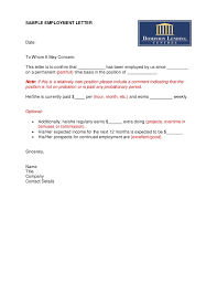 Work Certification Letter Sle Letter Of Employment Template 40 Proof Of Employment Letters