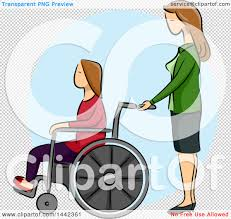 clipart of a sketched caucasian woman pushing her disabled
