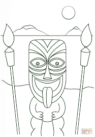 tiki man with torches coloring page free printable coloring pages