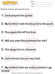 recognize the nouns worksheet turtle diary