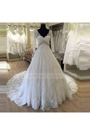 lace v neck chapel train ivory long sleeve ball gown wedding dress