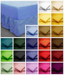 Elasticated Valance Poly Cotton Fitted Valance Bed Sheets Plain Dyed Colours Single