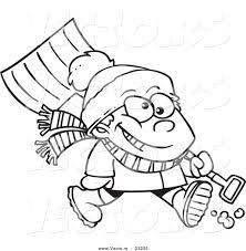 vector cartoon winter boy carrying snow shovel coloring
