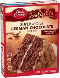 betty crocker delights super moist german chocolate cake mix hy