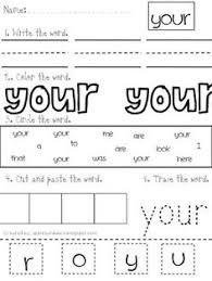 literacy center word work printables for fry u0027s list of sight