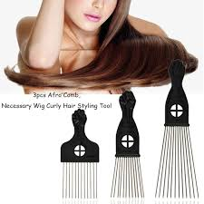 afro comb 3pcs afro comb set black handle metal curly hair