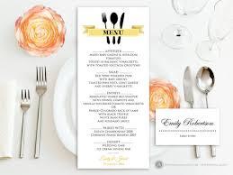 printable gold menu free place card template self print