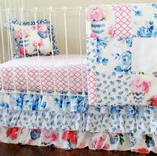 porcelain blue ivory white and petal pink floral crib