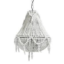 bead chandelier beaded wooden chandelier in white