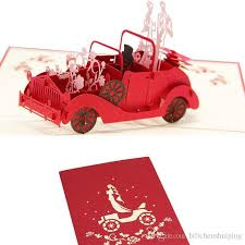 Wedding Day Greetings 200 130mm 3d Classic Car Wedding Invitations Card Festival