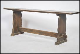 an early 20th century solid oak peg jointed pig refectory bench