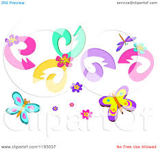 cartoon of floral swirls blooms butterflies and a dragonfly