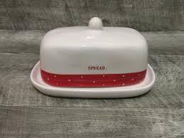 rae dunn red christmas polka dot u0027spread u0027 butter dish ebay