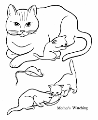 pet cat coloring mother cat kittens honkingdonkey