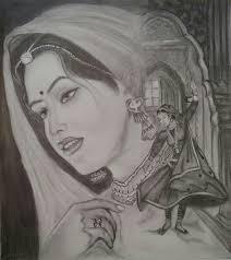 pencil sketch of indian rajputana princess https www etsy com