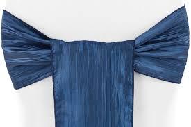 navy blue chair sashes accordion crinkle taffeta chair sash navy blue cv linens