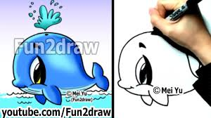 easy fun things to draw how to draw a whale cute drawings