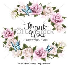 thank you background with beautiful roses and butterflies