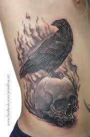 raven and skull by primitive art on deviantart
