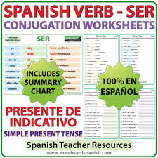 ser spanish verb conjugation worksheets present tense by
