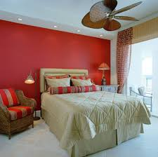 coral walls bedroom tropical with floor lamp brown blades
