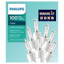 philips 100ct remains lit mini string lights white wire clear