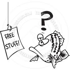 cartoon fish lure black and white line art by ron leishman