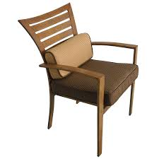 Dining Chairs With Cushions Shop Allen Roth Wood Grain Set Of 4 Outdoor Dining Chairs With